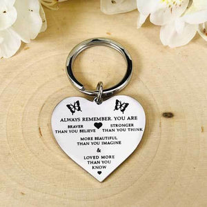 """Always Remember"" Silver Tone Heart Charm Keychain BeStrong"