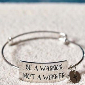 """Be A Warrior, Not A Worrier"" Engraved Cuff BeStrong"