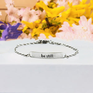 """Be Still"" Engraved Silver Tone Bar Bracelet BeStrong"