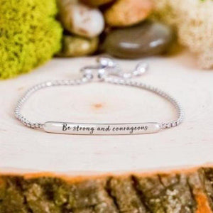 """Be Strong And Courageous"" Engraved Bar Bracelet BeStrong"