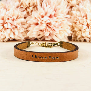 """Choose Hope"" Engraved Leather Cuff BeStrong"
