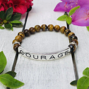 """Courage"" Engraved Boho Beaded Bracelet Be Strong"