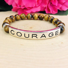 "Load image into Gallery viewer, ""Courage"" Engraved Boho Beaded Bracelet Be Strong"