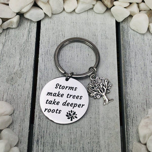"""Deeper Roots"" Engraved Tree Charm Keychain Be Strong"