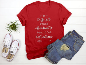 """Difficult Roads"" Tee T-Shirt Printify Red S"