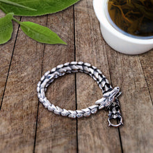 Load image into Gallery viewer, Dragon's Bite Silver Tone Bracelet BeStrong