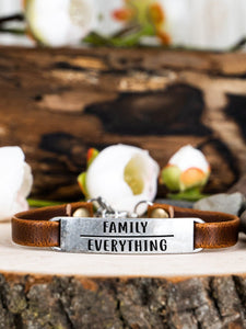 Family Over Everything Leather Bracelet BeStrong