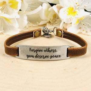 """Forgive others, you deserve peace"" Engraved Leather Bracelet BeStrong"
