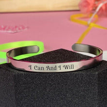 "Load image into Gallery viewer, ""I Can And I Will"" Engraved Silver Tone Cuff BeStrong"