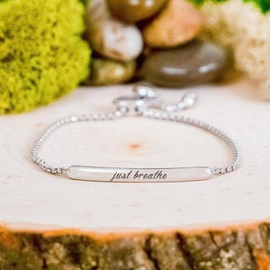 """Just Breathe"" Inspirational Silver Tone Bar Bracelet BeStrong"