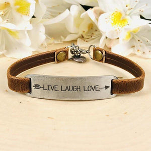 """Live. Laugh. Love."" Engraved Leather Bracelet BeStrong"