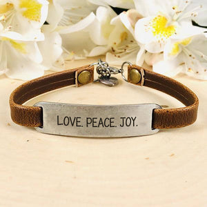 """Love. Peace. Joy."" Engraved Leather Bracelet BeStrong"