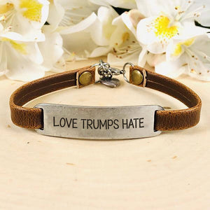 """Love Trumps Hate"" Engraved Leather Bracelet BeStrong"