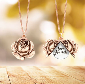 Love Yourself Rose Locket Necklace Necklace Be Strong