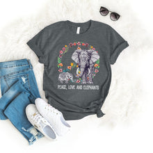 Load image into Gallery viewer, Peace Love Elephant Tee T-Shirt Printify Dark Heather S
