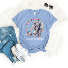 Load image into Gallery viewer, Peace Love Elephant Tee T-Shirt Printify Light Blue L