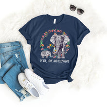 Load image into Gallery viewer, Peace Love Elephant Tee T-Shirt Printify Navy S