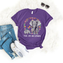 Load image into Gallery viewer, Peace Love Elephant Tee T-Shirt Printify Purple S