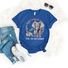 Load image into Gallery viewer, Peace Love Elephant Tee T-Shirt Printify Royal S