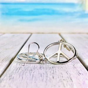 Peace Silver Tone Earrings BeStrong