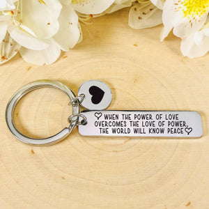 """Power Of Love"" Silver Tone Keychain BeStrong"