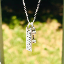 "Load image into Gallery viewer, ""Strong Is Beautiful"" Silver Tone Pendant Necklace Be Strong"