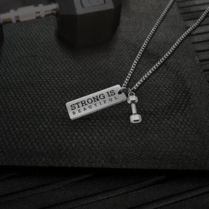"""Strong Is Beautiful"" Silver Tone Pendant Necklace Be Strong"