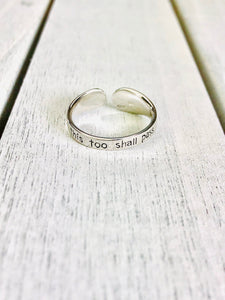 """This too shall pass"" Silver Tone Ring BeStrong"