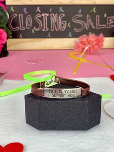 """Tough"" Engraved Leather Bracelet BeStrong"