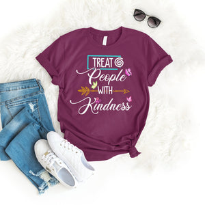 Treat People With Kindness Tee T-Shirt Printify Maroon S