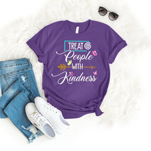 Treat People With Kindness Tee T-Shirt Printify Purple S