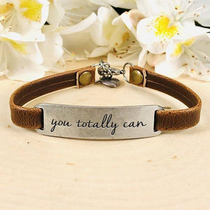 """You Totally Can"" Engraved Leather Bracelet BeStrong"