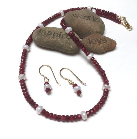 14K GOLD RUBY SILVERITE NECKLACE EARRINGS - NOBLE GRACE TALISMAN