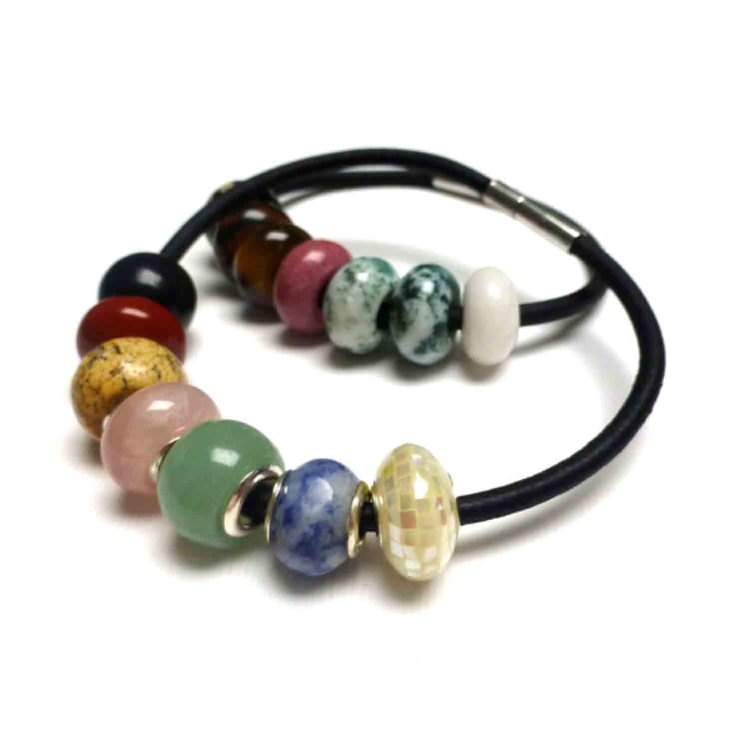 LEATHER SEVEN CHAKRAS MEDITATION BRACELET