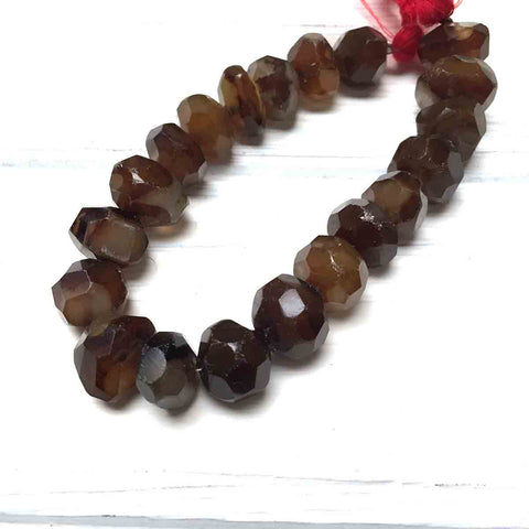 LARGE CHALCEDONY ROUGH FACETED BEADS. DARK AMBER BROWN. GEMSTONE BEADS. 15mm-18mm x 8mm-13mm. 5 BEADS.