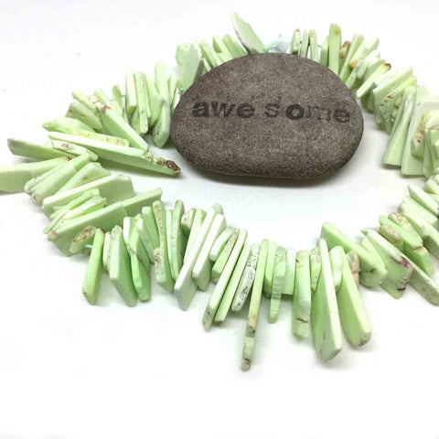 LEMON CHRYSOPRASE SLICE BEADS. GRADUATED. LIME. ROUGH CUT. TOP DRILLED. 6mm - 40mm. FULL STRAND.