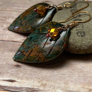 BRONZE CARVED GREEN OPAL LEAF EARRINGS - REJUVENATION TALISMAN