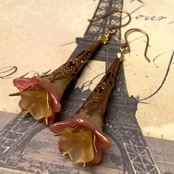 HANDMADE VICTORIAN STYLE FLOWER EARRINGS. YELLOW. PINK. GARDEN. ROMANTIC. NATURE. FAIRY.