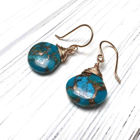 BRONZE COPPER TURQUOISE TEARDROP EARRINGS - I HEAL TALISMAN
