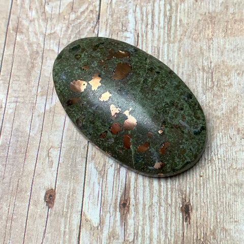 COPPER IN MATRIX OVAL CABOCHON. GREEN. COPPER. 38MM x 23MM x 9MM.