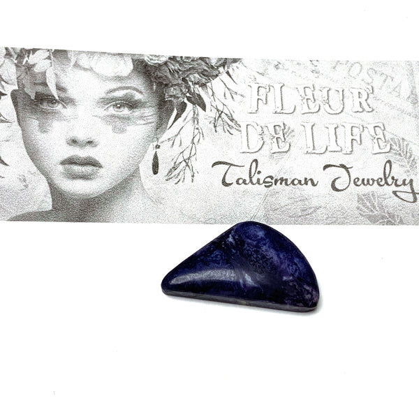 TIFFANY STONE CABOCHON. SOFT TRIANGLE. COBALT BLUE. 38MM x 29MM x 6MM.