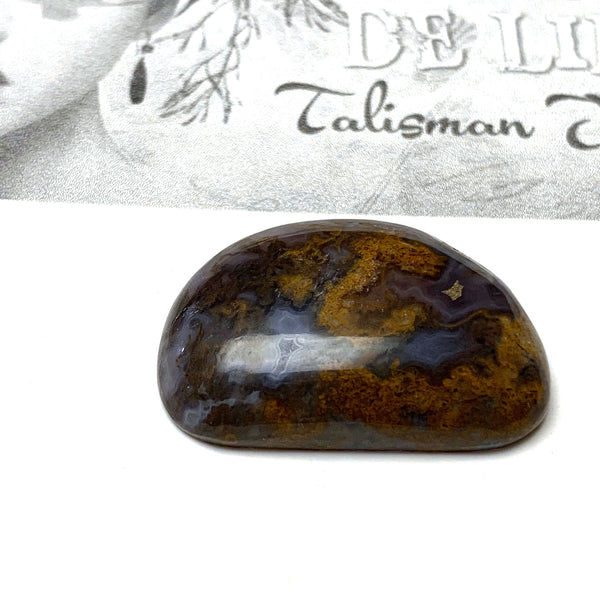 UNKNOWN AGATE CABOCHON. FREEFORM. BLUE. GOLD. 31MM x 21MM x 7MM.