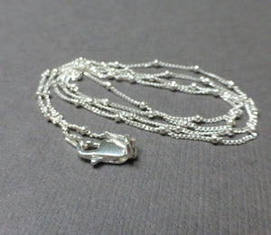 STERLING SILVER CURB WITH BEAD CHAIN 1MM 18 INCHES, 20 INCHES