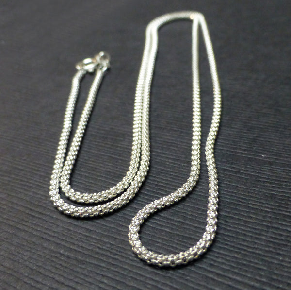 STERLING SILVER POP CHAIN 1.50MM 18 INCHES. 22 INCHES
