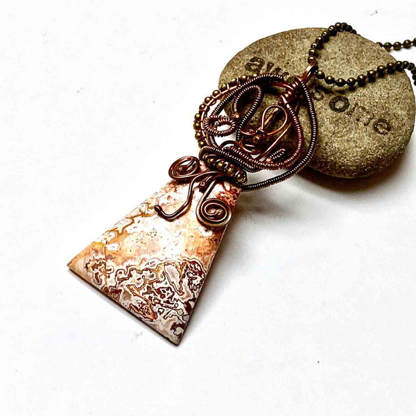 COPPER WRAPPED CRAZY LACE AGATE NECKLACE - CRAZY WISDOM TALISMAN