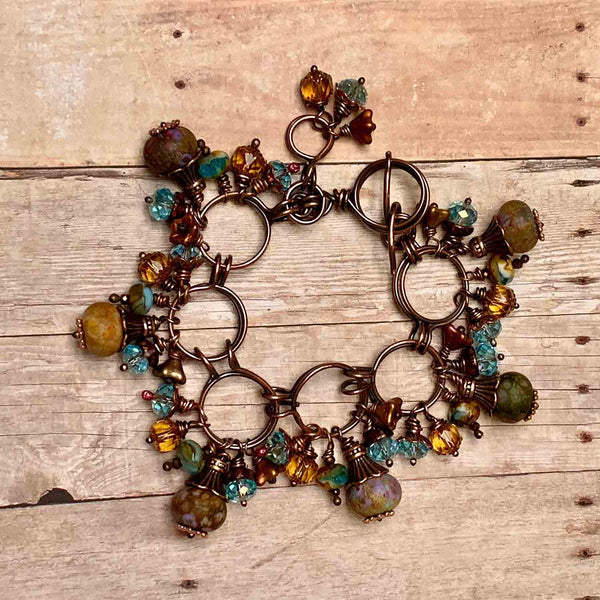COPPER CZECH GLASS STACKED BRACELET - BLOOM TALISMAN