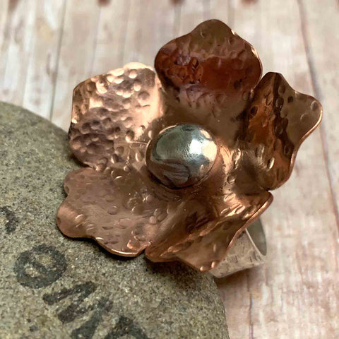 COPPER STERLING SILVER FLOWER RING - FLOWER OF LOVE TALISMAN