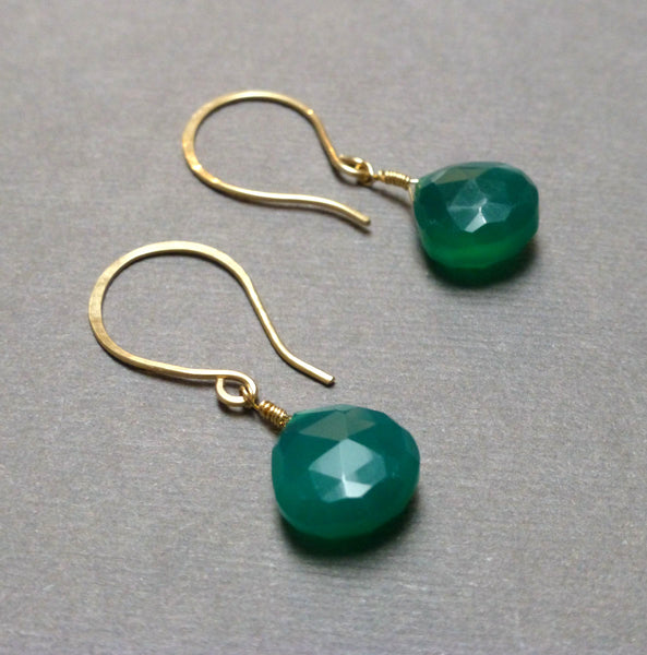 GOLD FILLED EMERALD GREEN CHALCEDONY EARRINGS - GOOD WILL TALISMAN