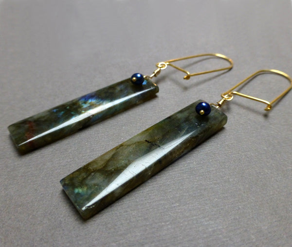 GOLD VERMEIL LABRADORITE PEARL LONG DROP EARRINGS - ORIGINALITY TALISMAN