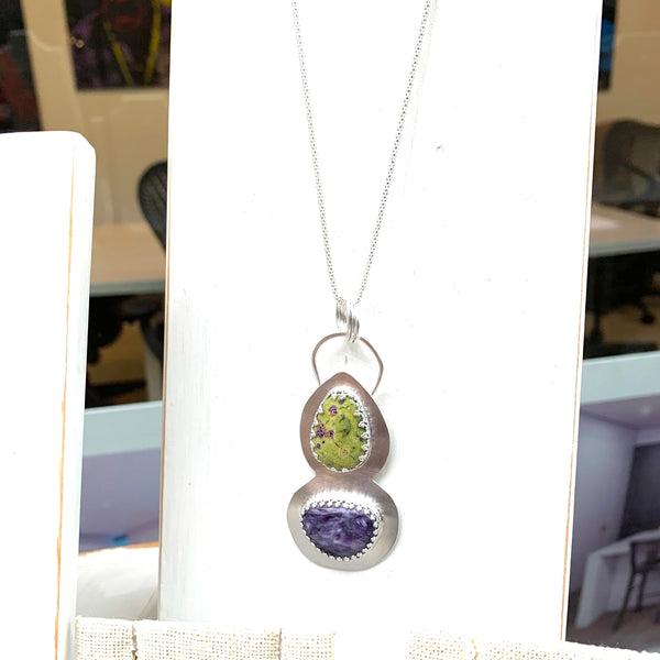 RESERVED - STERLING SILVER CHAROITE STITCHITE NECKLACE - I ACCEPT TALISMAN